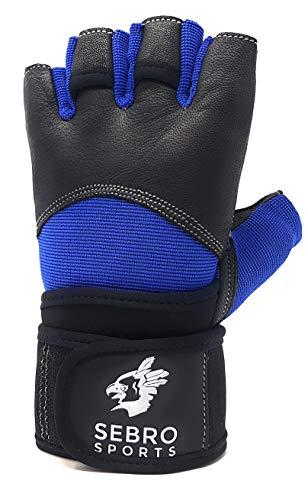 SEBRO SPORTS Trainingshandschuhe für Damen und Herren für Kraftsport und Fitness -aus Leder - Für Schutz und Griffkraft im Training, Schwarz-Blau, XL