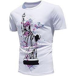 Fascinating T-shirt, Tefamore 2017 nuevos colores creativos del encuentro de Sun cambio de color de ocio de verano de verano de deportes playa blusa camisa de hombre (XL, Blanco5)