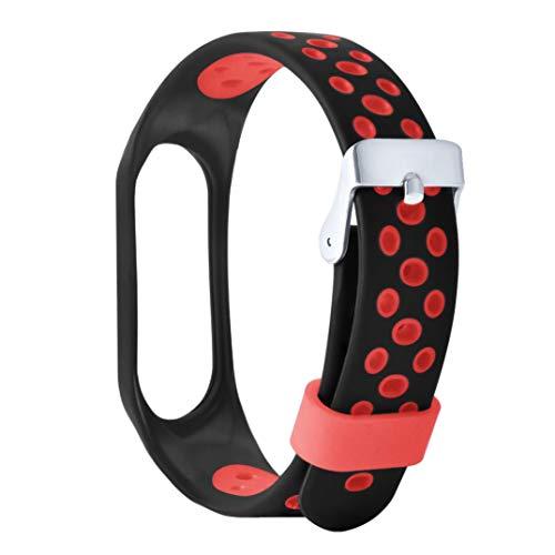 Bracciale orologio cinghia due tonalità fibbia di ventilazione braccialetto xiaomi mi 3sport morbido polso cinghia bracciale sostituzione ventiler sisit, rosso, 207mm