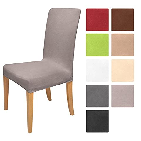 Beautissu Housse strech Mia pour chaise - 45x45cm - Elegante moderne - Coton - Bi-Elastique - OEKO-TEX - Bleu granit