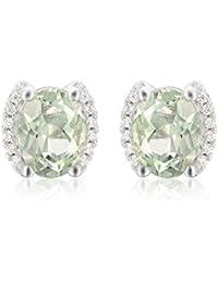 Jewelrypalace Pendientes Exquisito 2.3ct Afmatista Verde en plata de ley 925