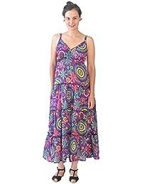 Manches Mesdames Strap Maxi robe avec motif multicolore