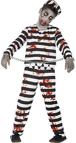 Fancy Me Jungen Mädchen Teen Toter Zombie blutig schwarz weiß gestreift Sträfling Gefangener Prison Gefängnis Halloween Kostüm 4-14 Jahre - 12-14 Years