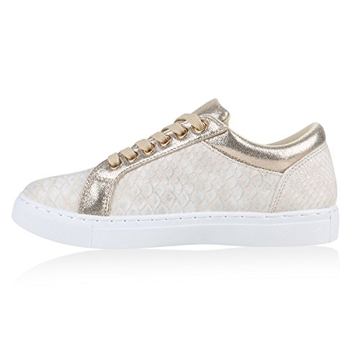 Damen Sneakers Metallic Sneaker Low Zipper Glitzer Schuhe Lack Animal Print Turnschuhe Sportschuhe Leder-Optik Plateau Flats Flandell Gold Snake