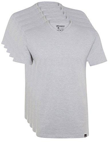 Ultrasport Herren Sport Freizeit T-Shirt mit V-Ausschnitt 5er Set Grau Melange, XXXL -