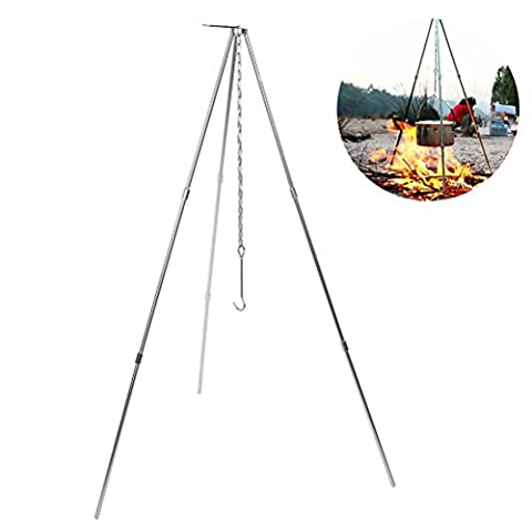 Twinkling Stars Portable Campfire Tripod, Outdoor Lightweight Folding Camp Stove Tripod Stand Cooking Picnic Grill Hanger