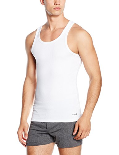BOSS Herren Tank top Excite 2:2 Rib T-Shirt, Weiß (White 100), Small -