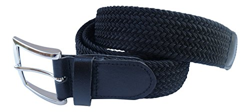 Streeze 35mm Stretch Belt Braided Elastic Woven Belt Silver Buckle Ideal for Jeans