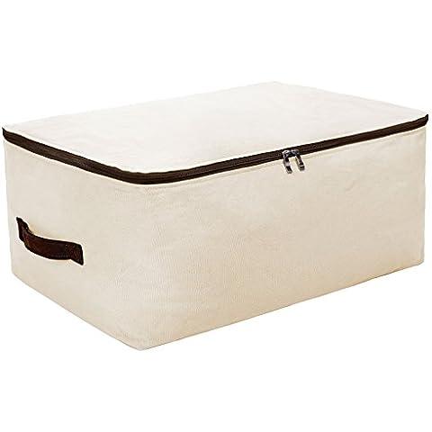 La lona del hogar del bolso del jumbo de almacenamiento p, Manta Bolsa, Armario suave bolsa de almacenamiento, Jersey Organizador Caja con cremallera y 2 asas resistentes, lavables en lavadora, Beige