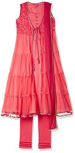 Biba Girls Angrakha Salwar Suit Set (KW2781_CORAL_11)