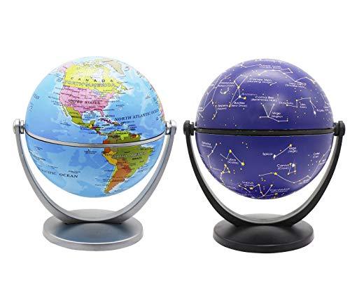 Exerz 10cm Mini-Globen 2 Stück: 1 x Politische Globus, 1 x Stern und Sternbild Globus, In Alle Richtungen Schwenkbar. Bildungs-, Dekorative, Kleine Welt (2 Globen Pro Packung)