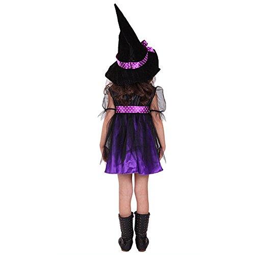 Macxy - Ankunft Halloween-Party-Kind-Kind-Cosplay-Hexe-Kostüm für Mädchen Halloween-Kostüm-Party-Hexe-Kleid mit Hut [4T Lila]