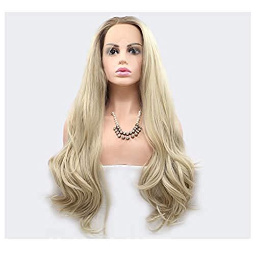 BGHJUE Frau gewellte Gold synthetische Lace Front Perücke mit hitzebeständigen Faser Halloween Karneval Disco Haarteile