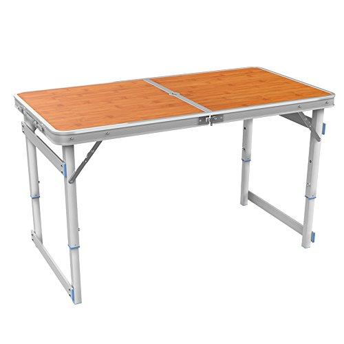 XING ZI Folding table X-L-H Klapptisch Picknicktisch 120x60x70cm Aluminiumlegierung Camping Tisch Höhenverstellbarer Klappformat Koffer (Farbe : A-Bamboo Color)