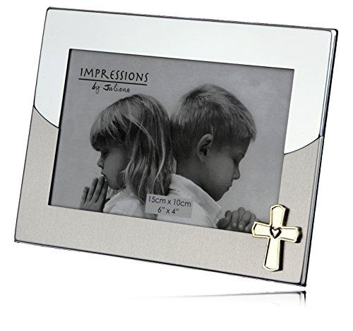 Schöne Aluminium Bilderrahmen zur Taufe, Konfirmation oder Kommunion mit Kreuz