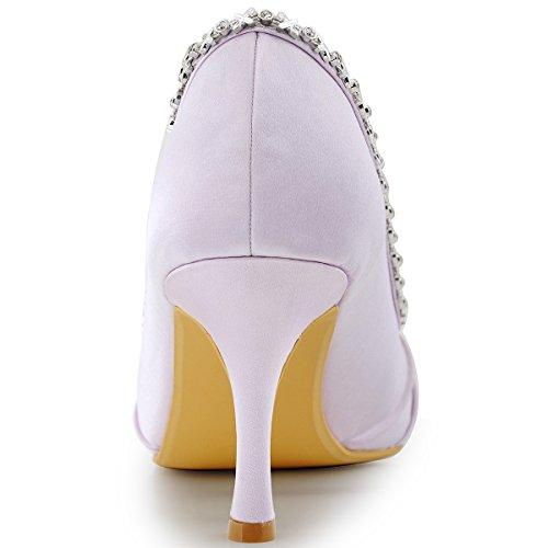 Elegantpark EP2094 Bout Ouvert Crinklinge Satin Pompes Moyen Talon Femmes Soiree Chaussures de Mariee Lavande