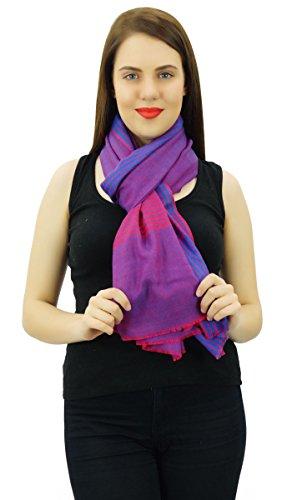 Étole Femmes Châle Cachemire Soie Cou Écharpe Tête Hijab Enveloppement Écharpe Bleu et rouge