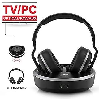 Wireless TV Headphone, VOGEK Hi-Fi Stereo 2.4G RF Headset with Transmitter Charging Dock, Optical Fiber TV Earphone 100ft Wireless Range Rechargeable for TV/PC/Phone
