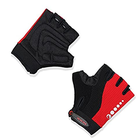 Men's Triomphe Fingerless Mesh Gloves/Mitts - Black/Red - Lrg