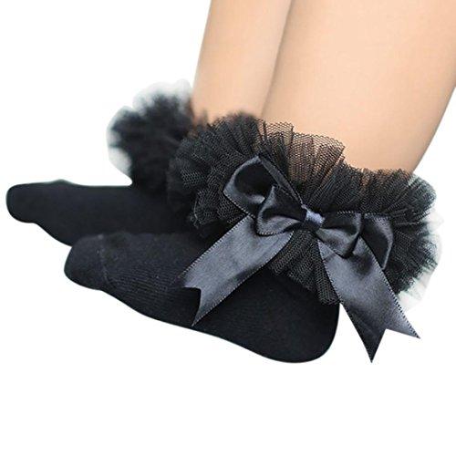 Socken Longra Baby Kinder Mädchen Prinzessin Bowknot Socke Spitze Rüsche Frilly Trim Knöchelsocken(0 -6Jahre) (11.5cm/0-2Jahre, Black) (Kleid Toe Socken)