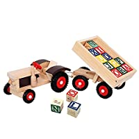 Bino 82077 Tractor with Rubber Wheels and Tow, Size-39 x 11 x 8 cm, Multicolour