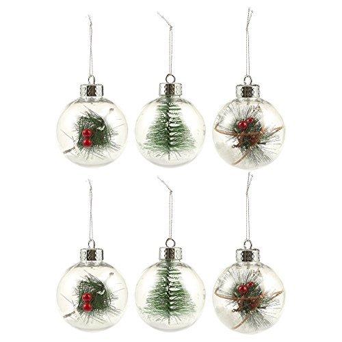 Juvale Weihnachtsbaumschmuck, klein, Weihnachtsschmuck, dekorativ, gefüllt mit festlichen Verzierungen, 8,1 x 13,3 x 7,1 cm, transparent, 6 Stück (Dekorativen Weihnachtsschmuck)