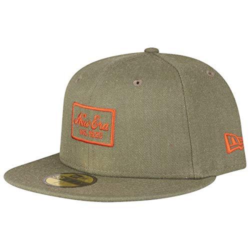 New Era Heather 59Fifty Cap NE Script Khaki, Size:7 3/8