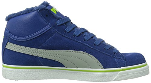 Puma Mid Vulc Fur Jr, Baskets mode garçon Bleu (Limoges/Gray/Lime Green)
