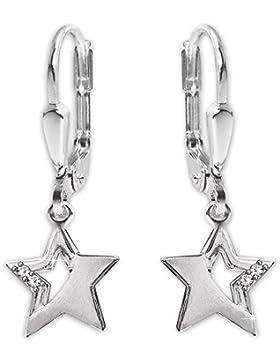 CLEVER SCHMUCK Silberne Ohrhänger 24 mm mit Stern 9 mm matt und glänzend mit 2 Zirkonias teils offen STERLING...