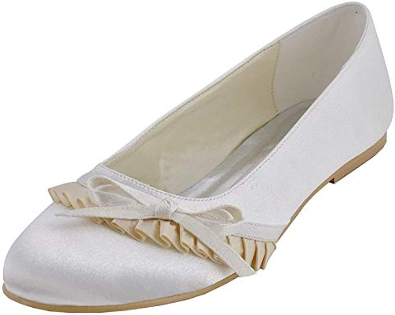 ZHRUI MZ596 donna Round Toe Ruffed Bridal Bridal Bridal Wedding Party Sera Avorio Satin Flats scarpe UK 7.5 (Coloreee   -, Dimensione... | Eccellente  Qualità