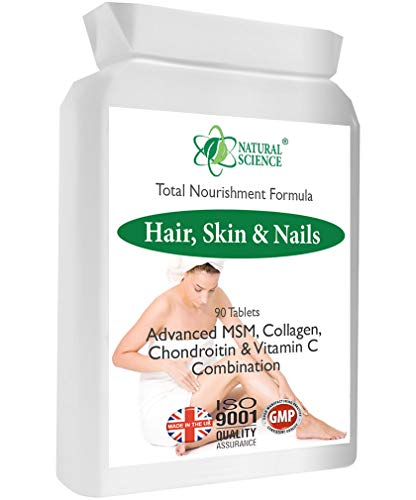 Stärker gesundere Haare, Nägel, Haut - Natural Science MSM, Collagen Supplement - Intensive Ernährung 30-45 Tageskurs - Hergestellt in zertifizierten UK Labor - 90 Tabletten