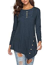 Azul Tops Mujer Ropa es Y Camisetas Amazon Blusas twqHn