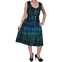 Mogul Interior Bohemian Women Tie Dye Dress Sleevless Summer Chic Street Style Beach Coverup Holiday Sundresses S/M