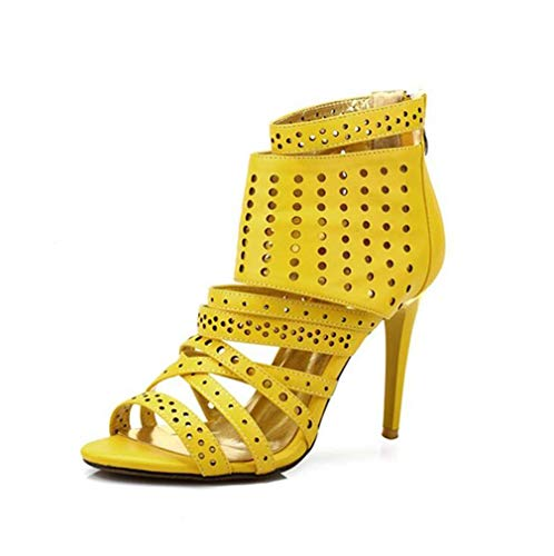 GHFJDO Damen Open Toe Sandalen, Vintage Knöchelriemen Stiletto Heels Sommer Chunky Heels Kleid Party Pumps,Yellow,36EU
