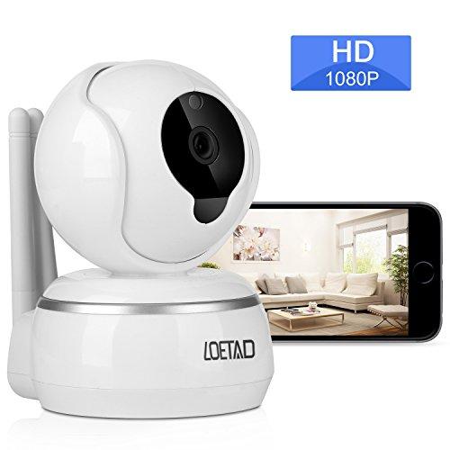LOETAD Überwachungskamera 1080P HD WiFi IP Kamera 2-Wege-Audio Nachtsicht Unterstützt Fernalarm (Verpackung MEHRWEG) Iphone 3g Wand