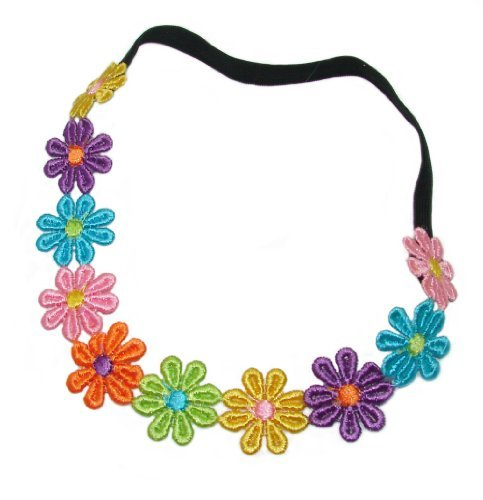 Multi Colour Daisy Chain Elasticated Headband.