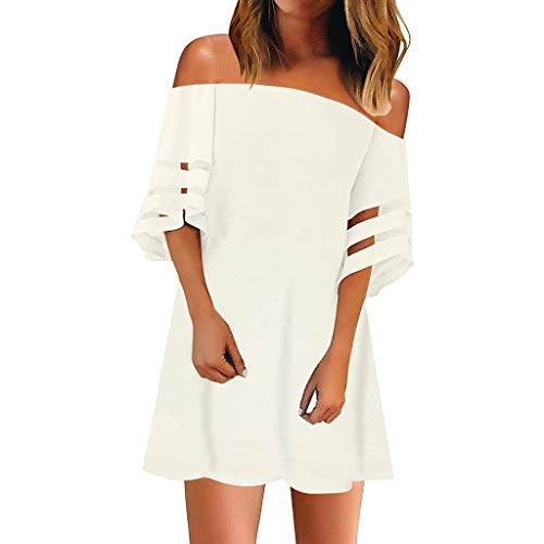 Junjie Damen Frauen Schulterfrei Mesh Panel Bluse 3/4 Bell Sleeve Lose Shirt Kleid umstandskleid tolles cocktailkleid Mini lang große größen Peep-toe-mini