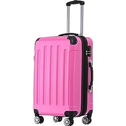 BEIBYE Zwillingsrollen 2048 Hartschale Trolley Koffer Reisekoffer in M-L-XL-Set in 17 Farben (Pink, M)