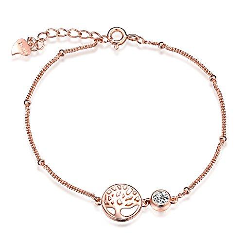 SixLuo Damen Frauen Mädchen Allergenfrei 925 Sterling Silber Armband mit Lebensbaum Anhänger Zirkonia Armreif Armkette
