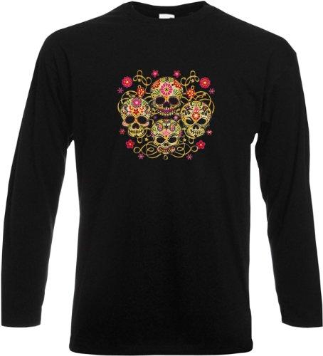 Langarm T-Shirt Four skulls Schwarz