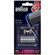 Braun- Juego de láminas de recambio y portacuchillas para afeitadoras Braun Series 5414, 5610, 5612, 360, 380, 5877, 5775, 5770 y 31B