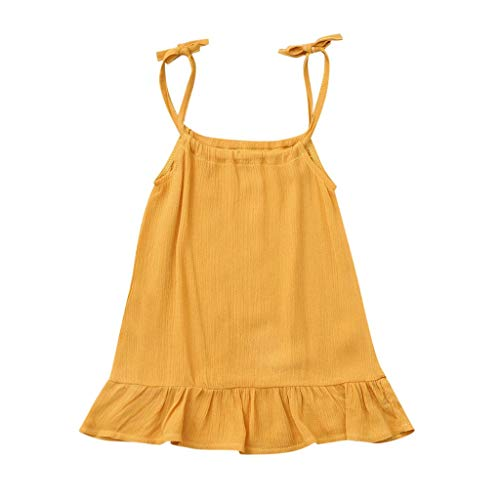 Kleid Sommer Kurz Dresses for Girls Pwtchenty Prinzessin Kleider Baby Mädchen Volltonfarbe Sleeveless Feste Partei Baumwolle Freizeitkleid ()