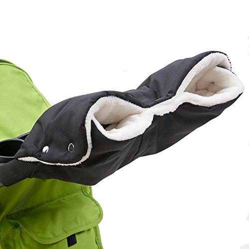 Kinderwagen Handwärmer Muff Handschuhe Wasserdicht Winddicht Fleece Gefüttert Winter Hand Schutz Buggy Schwarz