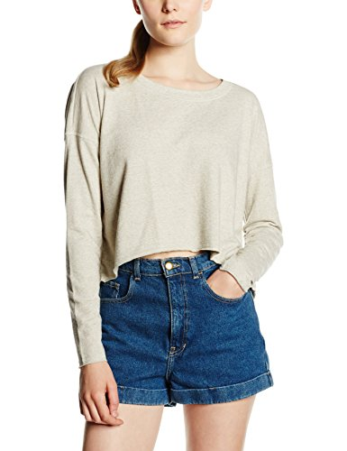 Only Onlflorence L/S Plain Cropped Swt, Sweat-Shirt Femme Ecru (Oatmeal)