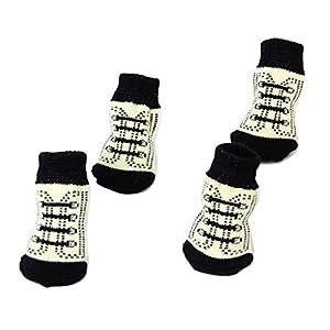 Sharplace 4pcs Chaussettes Antidérapantes de Lacet avec Imprimé de Pattes Chaussons pour Chien Chat