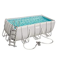 Bestway Rectangular Frame Swimming Pool with Filter Pump, Power Steel, 13.6 ft