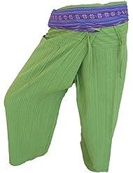by soljo - Fisherman Pantalones Envuelva deporte Yoga Fisherpant ravon Tailandia Asia 16 colores (hierba verde)