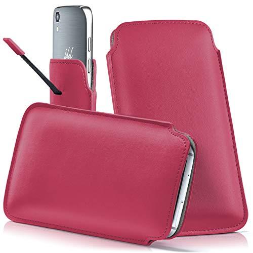 moex Alcatel A3 XL   Hülle Pink Sleeve Slide Cover Ultra-Slim Schutzhülle Dünn Handyhülle für Alcatel A3 XL Case Full Body Handytasche Kunst-Leder Tasche
