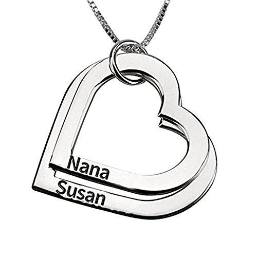 HACOOL personalisierte 925 Sterling Silver Family Heart Anhänger Name Halskette Custom Made mit beliebigen Namen (Two Heart Anhänger) (Monat Halskette Geburt Blume)