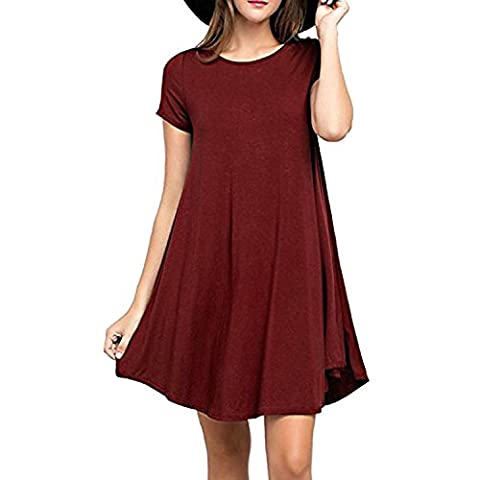 SUNNOW Femmes Robe O Neck manches courtes T-Shirt Dress Mode féminine Casual and Loose Robe (L, Vin Rouge)